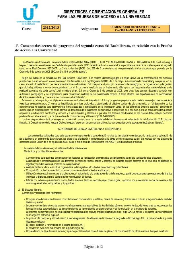 DIRECTRICES Y ORIENTACIONES GENERALES PARA LAS PRUEBAS DE ACCESO A LA UNIVERSIDAD Página: 1/12 Curso Asignatura 1º. Coment...