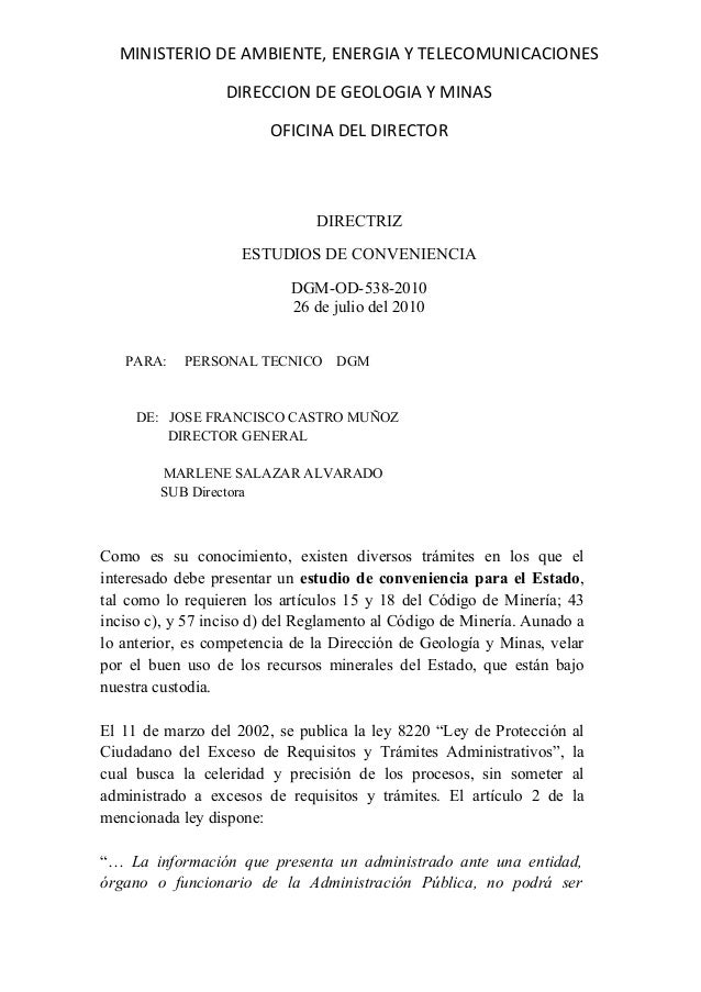 MINISTERIO DE AMBIENTE, ENERGIA Y TELECOMUNICACIONES                  DIRECCION DE GEOLOGIA Y MINAS                       ...