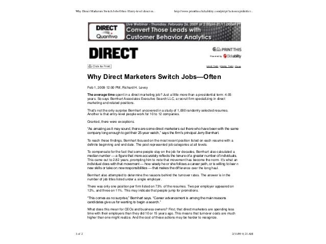Direct Switch-  A Study in Direct Marketing Staff Turnover