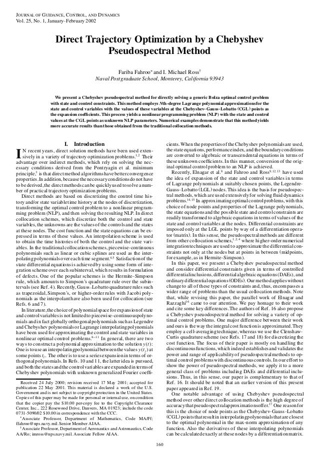 JOURNAL OF GUIDANCE, CONTROL, AND DYNAMICSVol. 25, No. 1, January– February 2002                     Direct Trajectory Opt...