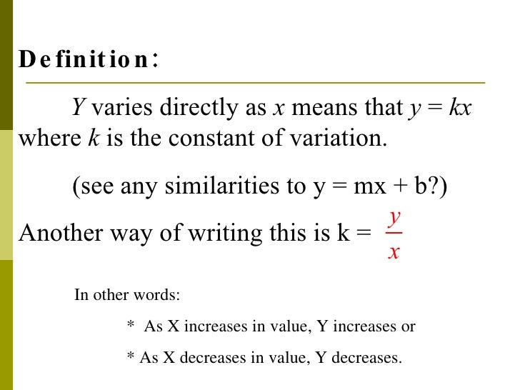 Direct Variation Algebra I Direct Direct Variation En Equation