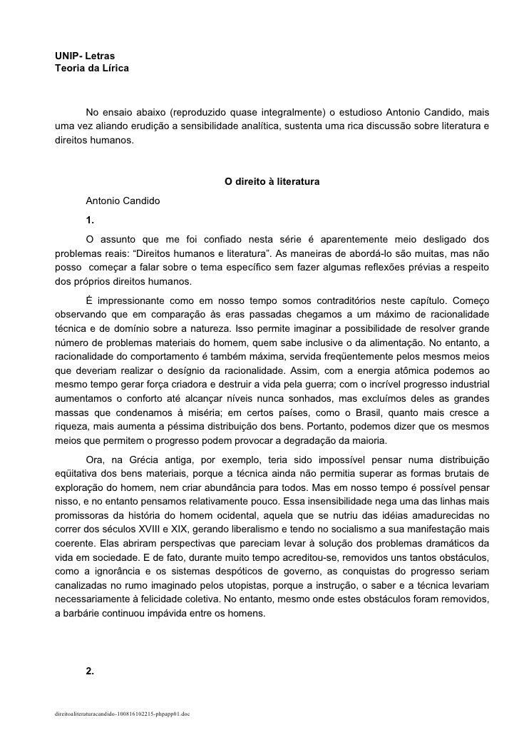 1   UNIP- Letras Teoria da Lírica            No ensaio abaixo (reproduzido quase integralmente) o estudioso Antonio Candid...