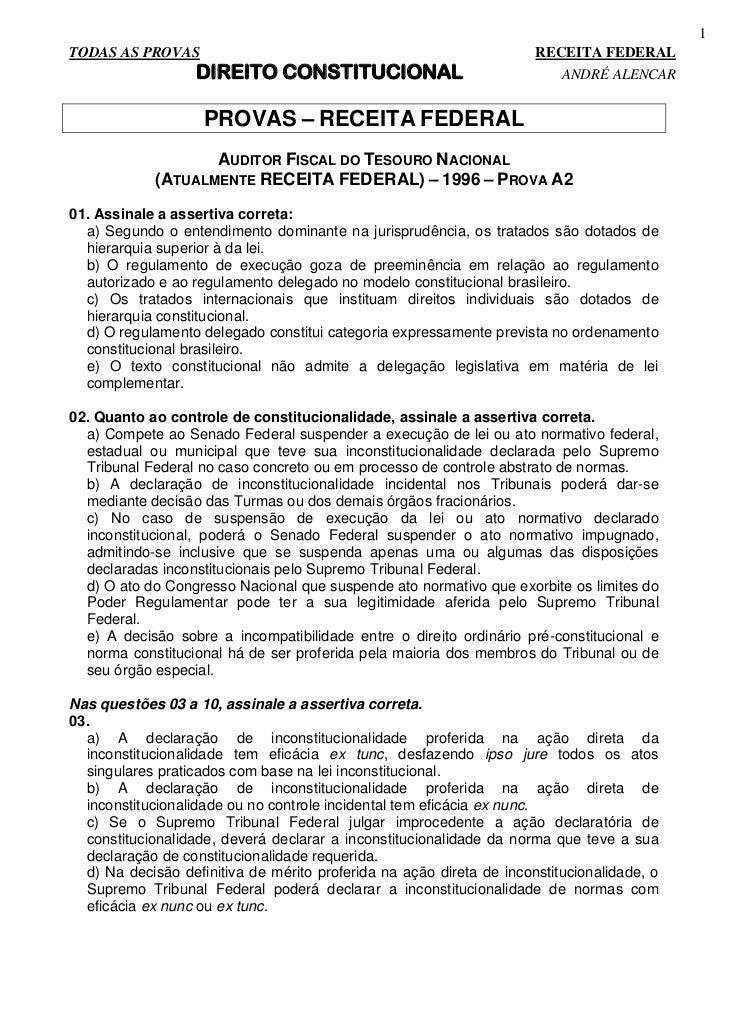 Direito constitucional   provas receita federal - 130 ques