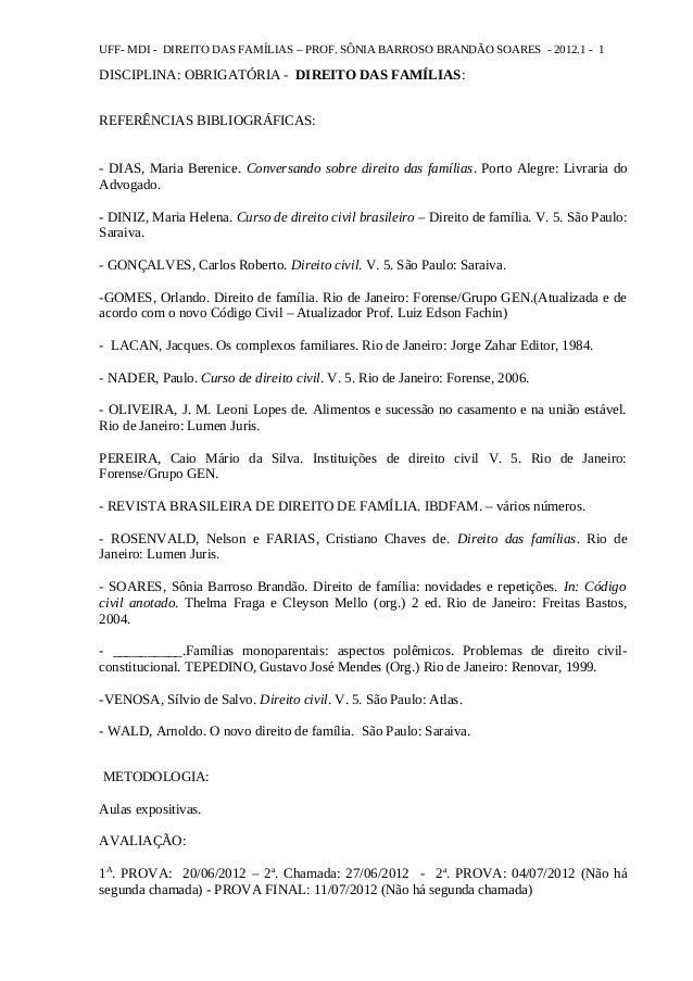 UFF- MDI - DIREITO DAS FAMÍLIAS – PROF. SÔNIA BARROSO BRANDÃO SOARES - 2012.1 - 1 DISCIPLINA: OBRIGATÓRIA - DIREITO DAS FA...