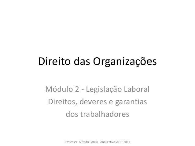 Direito das organizações   mod 2 - legislação laboral