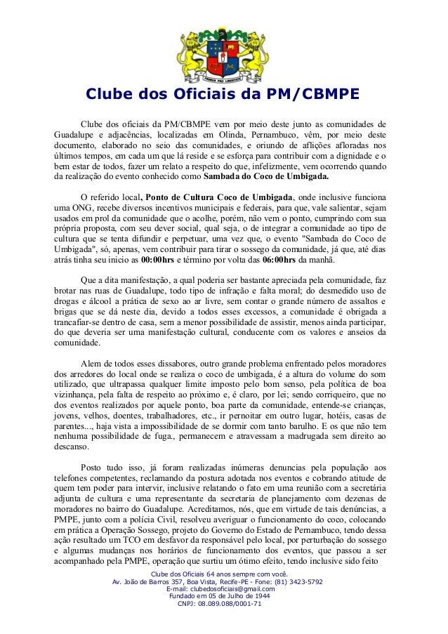 Clube dos Oficiais da PM/CBMPE Clube dos oficiais da PM/CBMPE vem por meio deste junto as comunidades de Guadalupe e adjac...