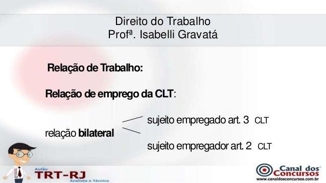 Direito do Trabalho               Profª. Isabelli GravatáRelação de Trabalho:Relação de emprego da CLT:                   ...