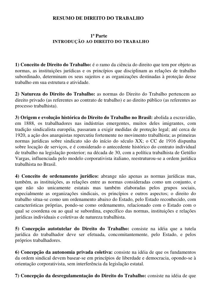 RESUMO DE DIREITO DO TRABALHO                                       1ª Parte                   INTRODUÇÃO AO DIREITO DO TR...