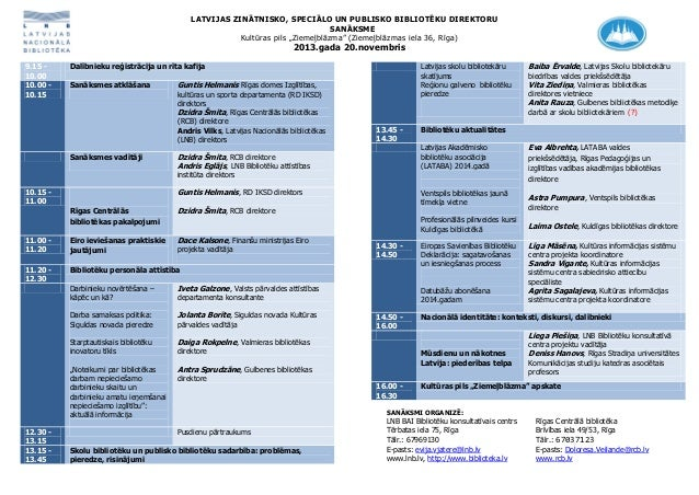 Latvijas zinātnisko, speciālo un publisko bibliotēku direktoru rudens sanāksme (20.11.2013.) PROGRAMMA
