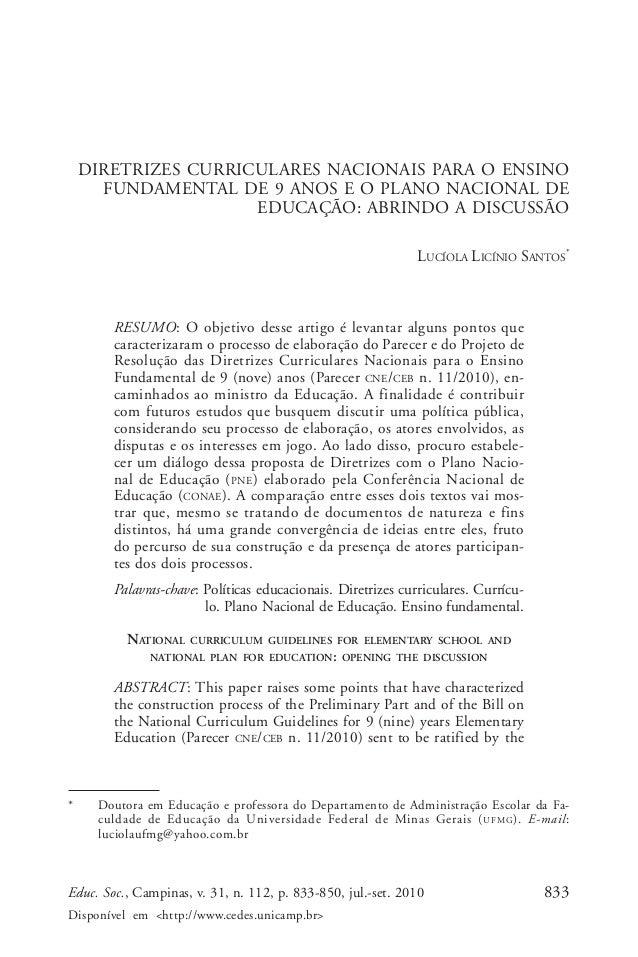 Lucíola Licínio Santos  DIRETRIZES CURRICULARES NACIONAIS PARA O ENSINO FUNDAMENTAL DE 9 ANOS E O PLANO NACIONAL DE EDUCAÇ...