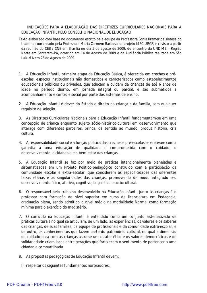INDICAÇÕES PARA A ELABORAÇÃO DAS DIRETRIZES CURRICULARES NACIONAIS PARA A       EDUCAÇÃO INFANTIL PELO CONSELHO NACIONAL D...
