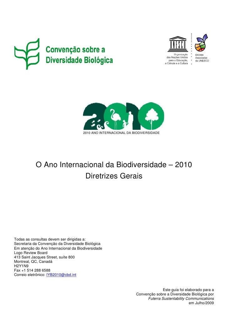 Diretrizes gerais   ano internacional da biodiversidade - 2010