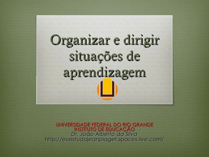 Organizar e dirigir situações de aprendizagem UNIVERSIDADE FEDERAL DO RIO GRANDE INSTITUTO DE EDUCAÇÃO Dr. João Alberto da...