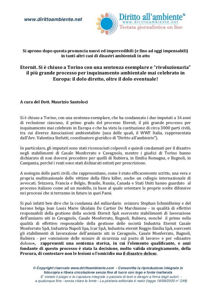 www.dirittoambiente.net        Si aprono dopo questa pronuncia nuovi ed imprevedibili (e fino...