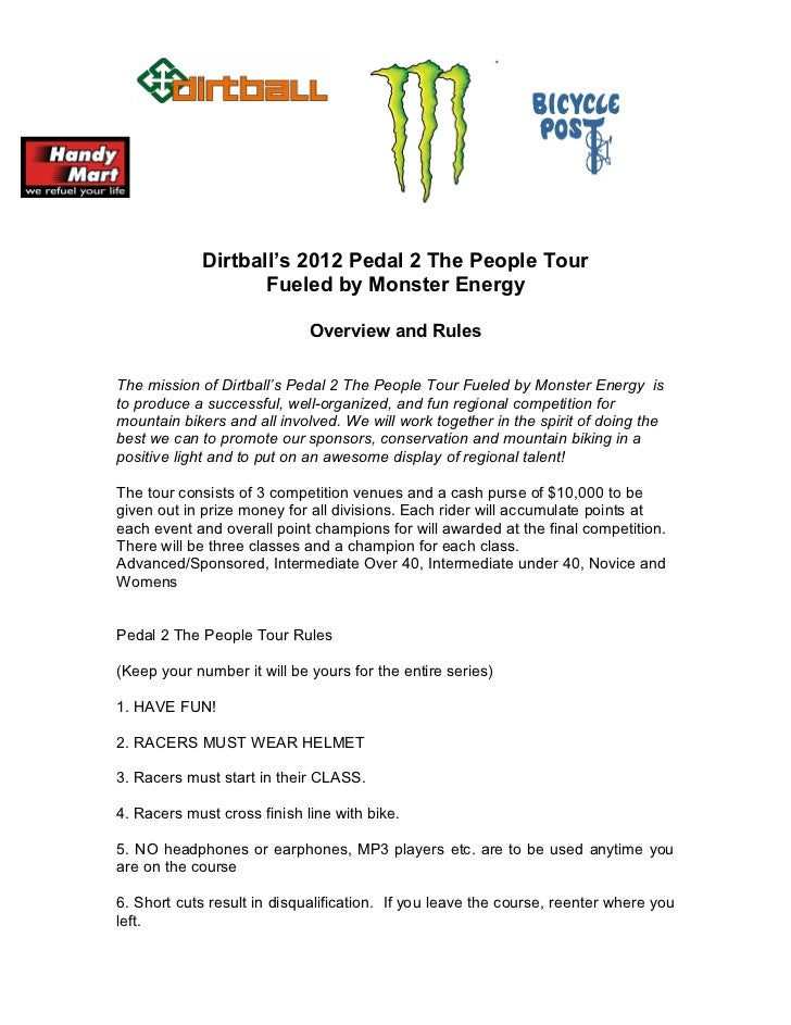 Dirtball's 2012 Pedal 2 The People Tour                    Fueled by Monster Energy                             Overview a...