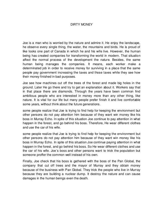 Dirty money essay yeidi
