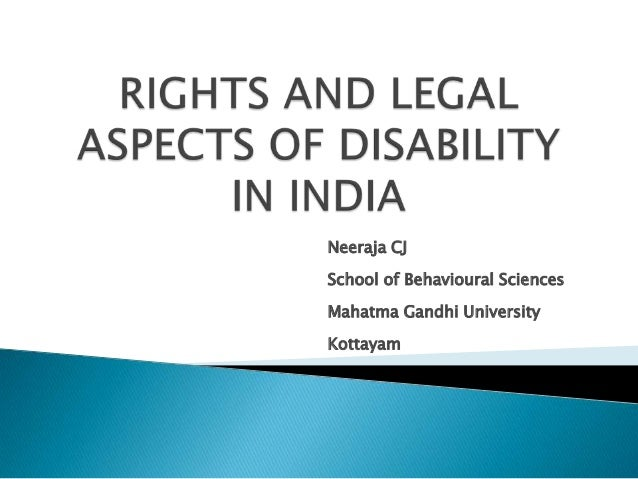 rights and legal aspects of disability in India