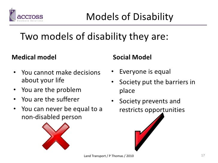 describe the medical and social models of disability A comparison of the medical model and the social model of care with  describe  the goals of cultural change models in long-term care facilities articulate the  in  other areas, has significant limitations: chronic illness, disability, mental health.