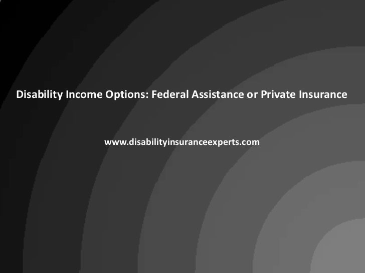 Disability Income Options: Federal Assistance or Private Insurance<br />www.disabilityinsuranceexperts.com<br />