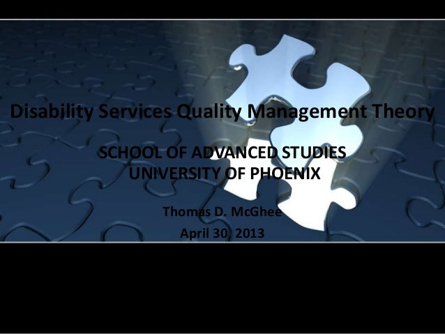 Disability services quality management theory   mc ghee