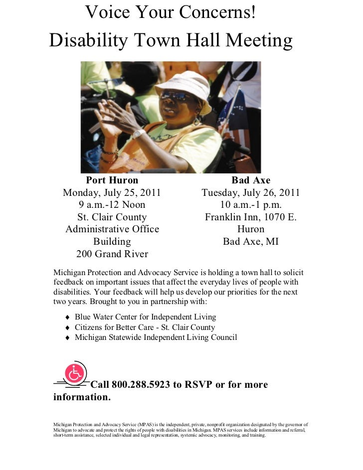 Voice Your Concerns!Disability Town Hall Meeting        Port Huron                                                        ...