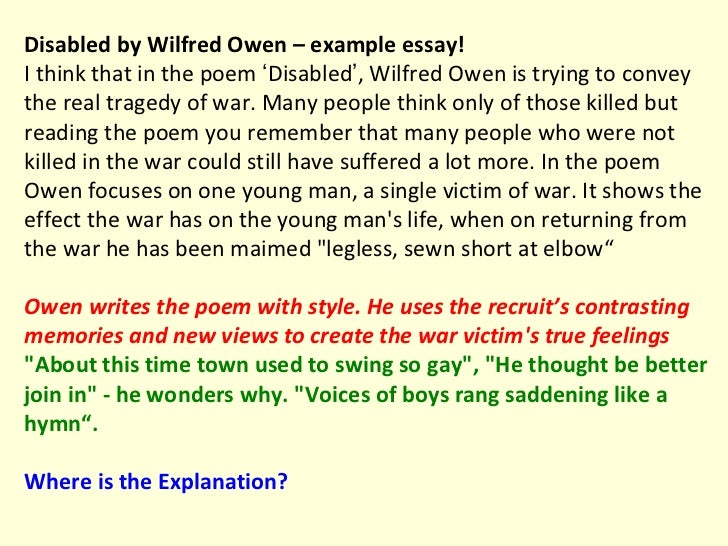 Analysis of 'Disabled' by Wilfred Owen Essay - 677 Words