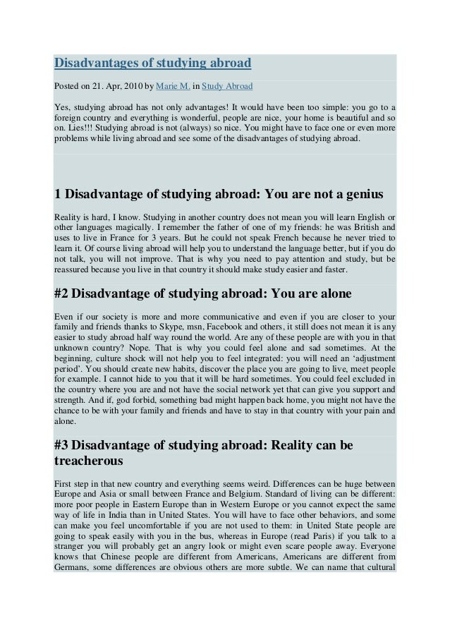 Why Study Abroad Essay Examples