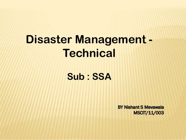 Disaster Management - Technical