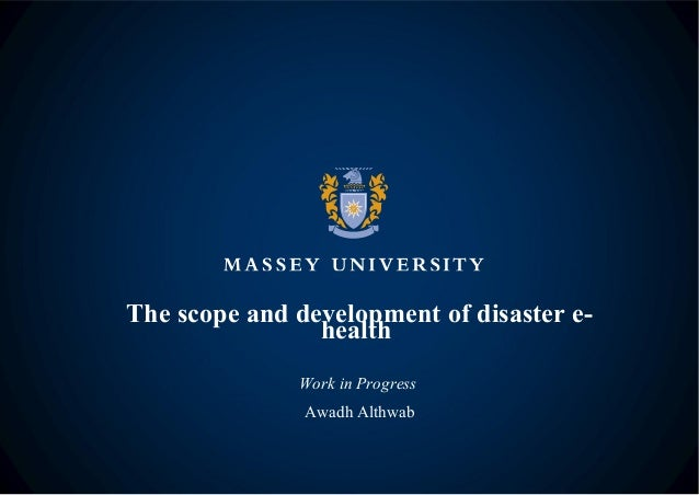 Scope and development of disaster e-health