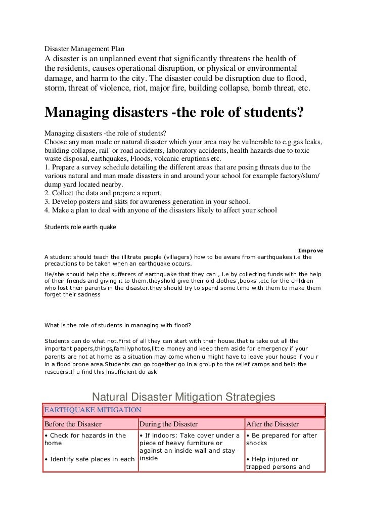 Disaster Management PlanA disaster is an unplanned event that significantly threatens the health ofthe residents, causes o...