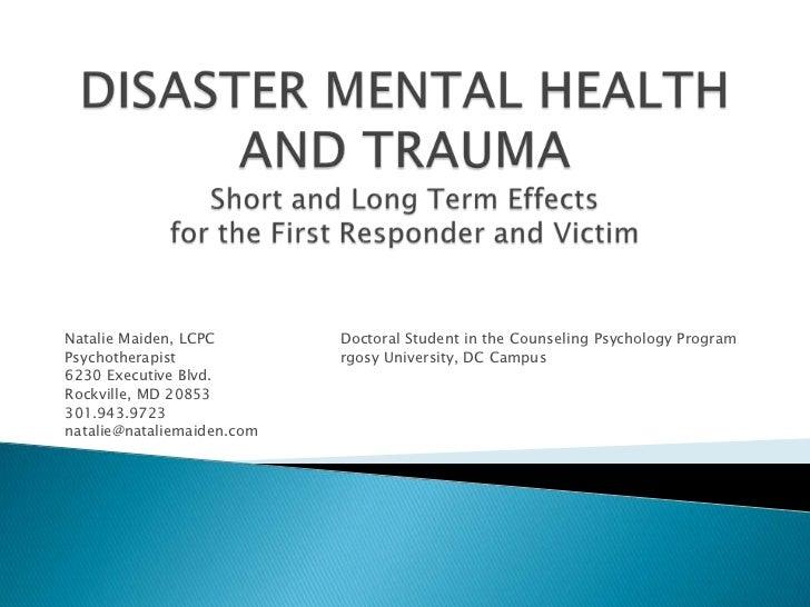 Disaster Mental Health and Trauma presentation 11 30 2011