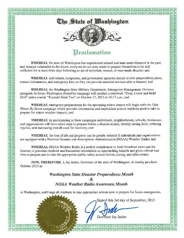 Disaster Preparedness Month Proclamation