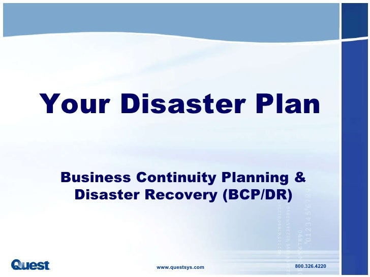 Disaster recovery and business continuity plan