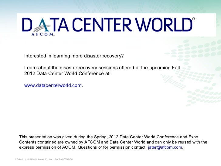 Interested in learning more disaster recovery?         Learn about the disaster recovery sessions offered at the upcoming ...