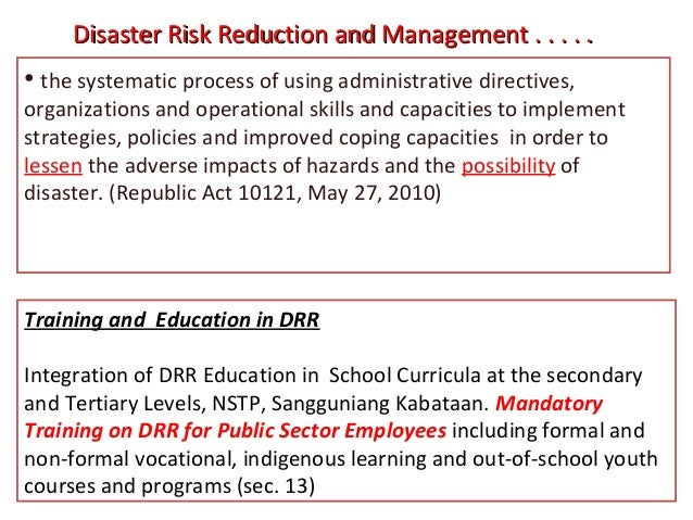 Disaster Risk Reduction Management Essay