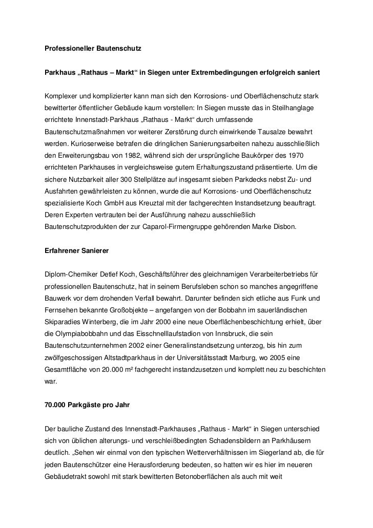 """Professioneller BautenschutzParkhaus """"Rathaus – Markt"""" in Siegen unter Extrembedingungen erfolgreich saniertKomplexer und ..."""