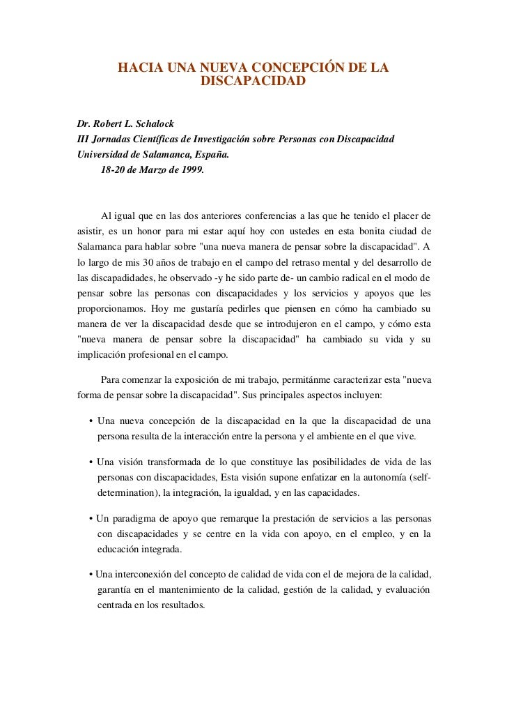 HACIA UNA NUEVA CONCEPCIÓN DE LA                    DISCAPACIDADDr. Robert L. SchalockIII Jornadas Científicas de Investig...