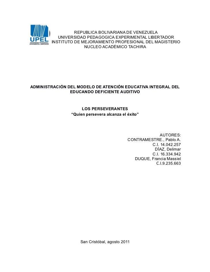 REPUBLICA BOLIVARIANA DE VENEZUELA           UNIVERSIDAD PEDAGOGICA EXPERIMENTAL LIBERTADOR        INSTITUTO DE MEJORAMIEN...