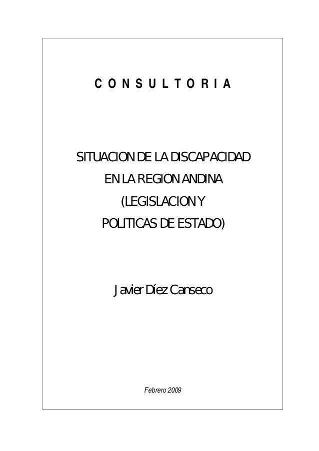 C O N S U L T O R I ASITUACION DE LA DISCAPACIDAD    EN LA REGION ANDINA       (LEGISLACION Y    POLITICAS DE ESTADO)     ...