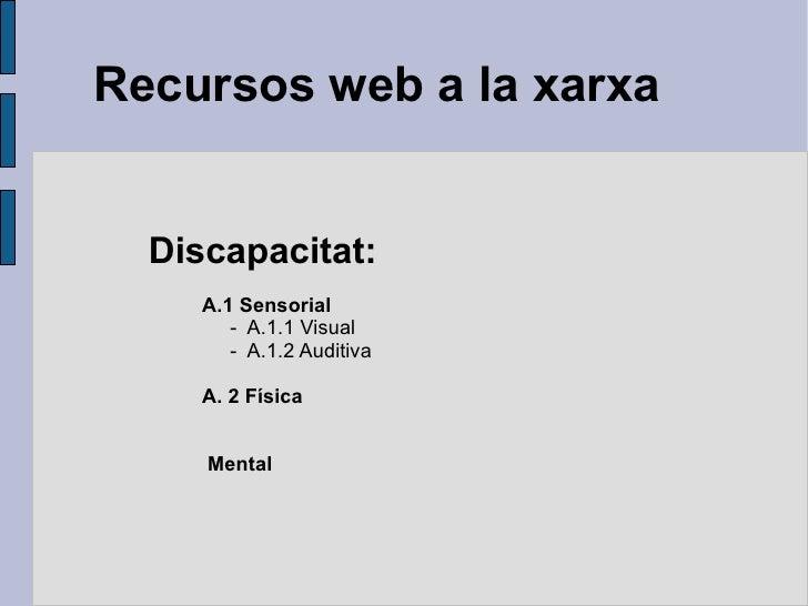 Recursos web a la xarxa Discapacitat: <ul><li>A.1 Sensorial