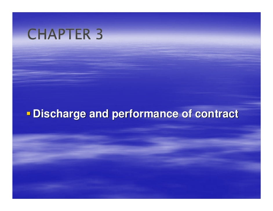 Discharge and Performance of Contracts