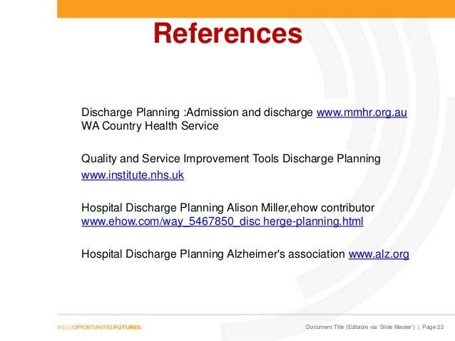 Discharge planning 2014