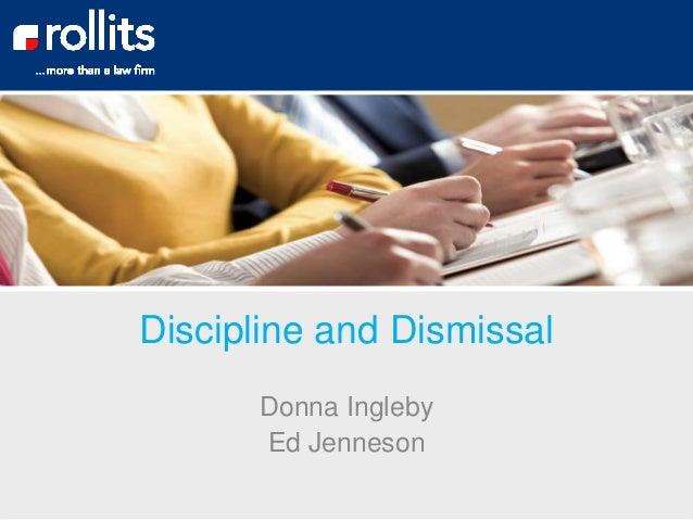 Discipline and Dismissal Donna Ingleby Ed Jenneson