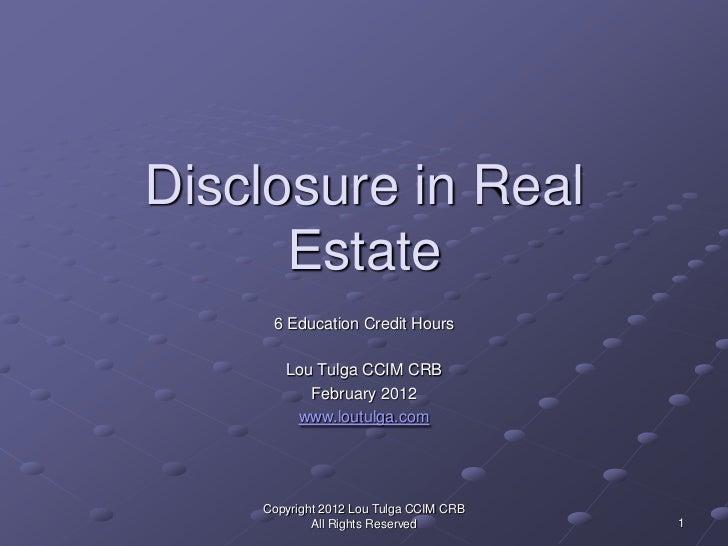 Lou Tulga CCIM CRB Disclosure in Real Estate in New Mexico