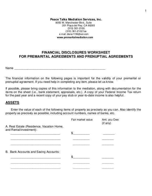 Divorce Mediation Financial Worksheet Proga Info