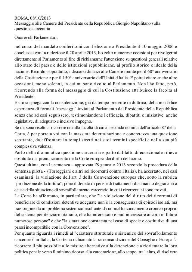 Messaggio del presidente della Repubblica alle Camere su questione carceraria