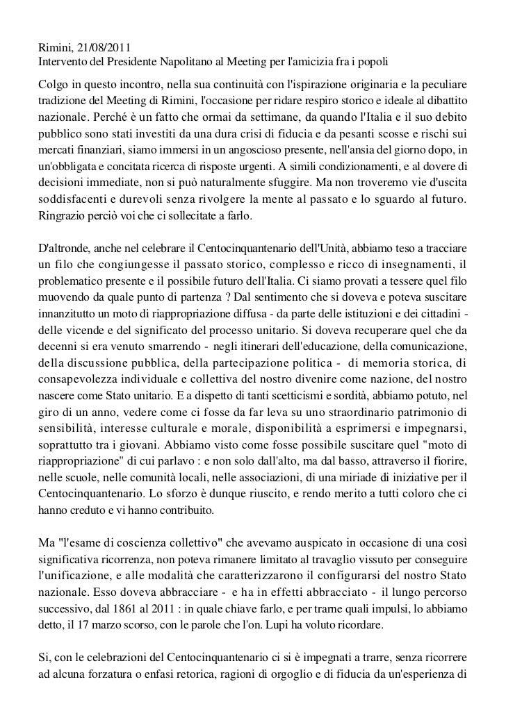 21/08/11 Rimini. Discorso presidente Giorgio Napolitano al meeting di comunione e liberazione.