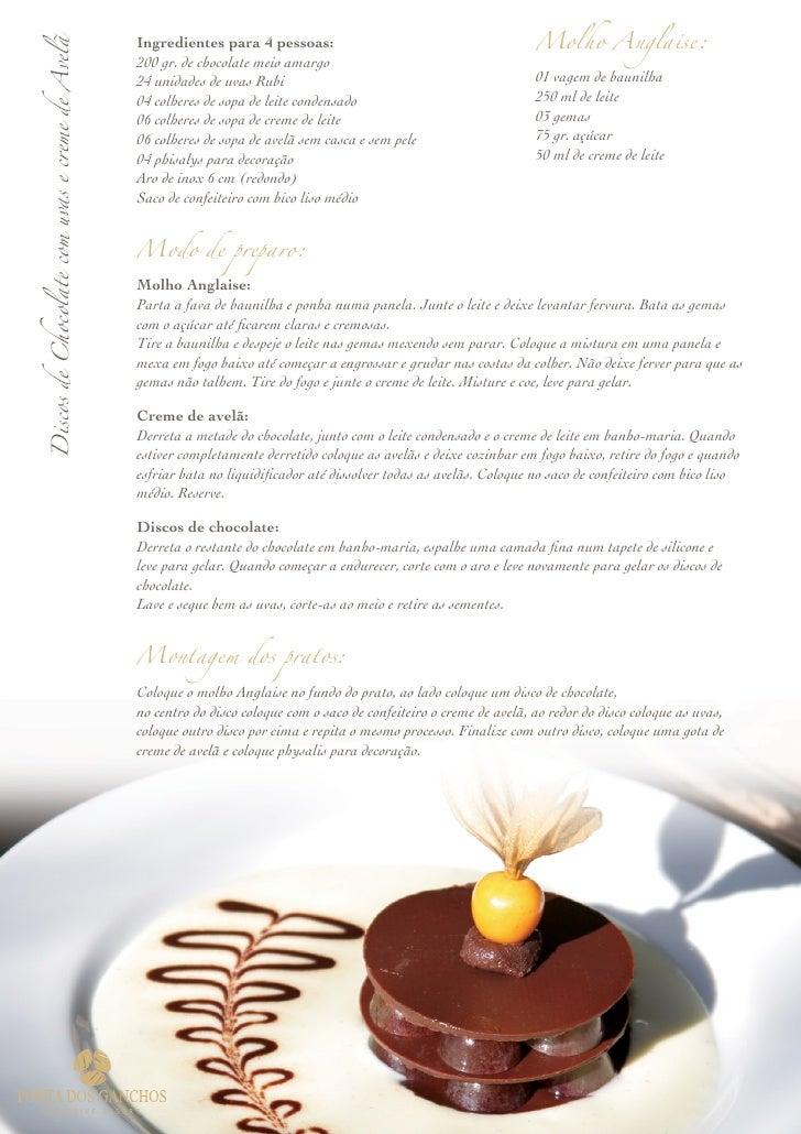 Ingredientes para 4 pessoas:                                           Molho Anglaise: Discos de Chocolate com uvas e crem...