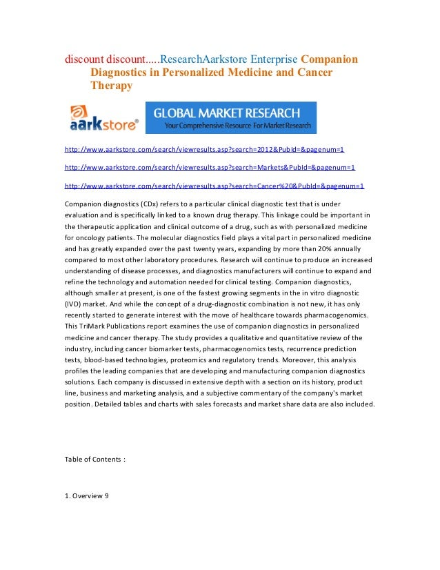 discount discount.....ResearchAarkstore Enterprise Companion     Diagnostics in Personalized Medicine and Cancer     Thera...