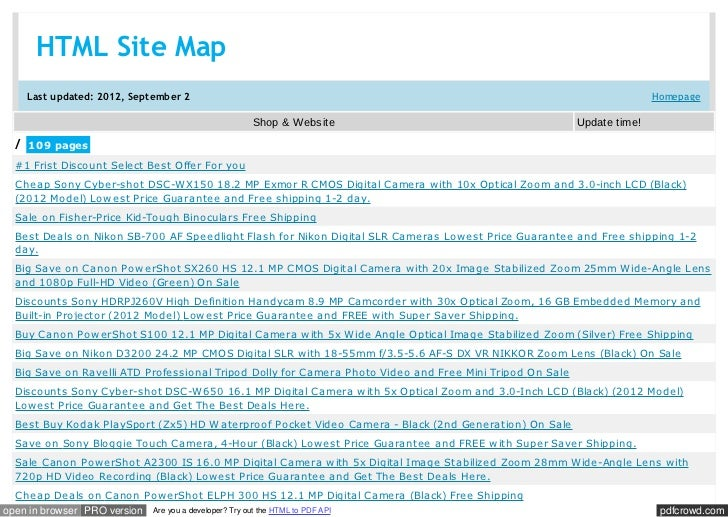 HTML Site Map     Last updated: 2012, September 2                                                                         ...
